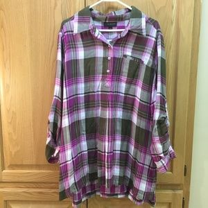 Lane Bryant plaid pink and olive oversize blouse